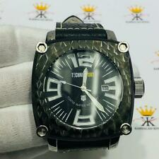 TechnoSport Black Ion Stainless Steel Large Dial Genuine Black Leather Watch