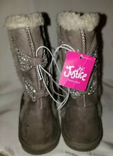 Justice Girl's Gray Silver Rhinestone Jewel Bow Sherpa Boots Slip On New 8
