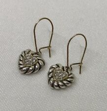 David Yurman $895 Diamond Dangle Drop Heart Cookie Earrings  ✨ Sterling 18k Gold