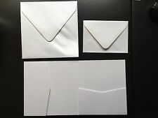 10 square Wedding Party Invitations White pocket fold invites incl.envelopes