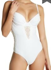 A.CHE SIMONE ONE PIECE SWIMSUIT LACE PANELS UNDERWIRE MOLDED CUPS WHITE SIZE 4