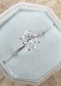 2.00 Carat Oval Cut Moissanite 14K White Gold Finished Solitaire Engagement Ring
