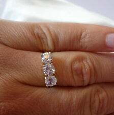 2.83ct Natural Cambodian White Zircon Gold Trilogy Ring