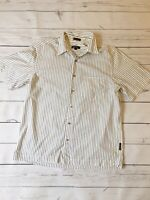 DKNY Shirt Medium White With Black Stripes Short Sleeve Smart Casual Work Fun