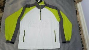 FOOTJOY Golf Sport Windshirt 1/4 Zip Long Sleeve White Wind Jacket Men's Size L