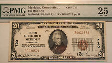 1929 $20 National Currency FR1802-1  The Home National Bank of Meriden CT