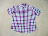 Peter Millar Button Up Shirt Adult Extra Large Purple Blue Plaid Camp Mens