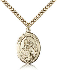 """Saint Joan Of Arc Medal For Men - Gold Filled Necklace On 24"""" Chain - 30 Day ..."""