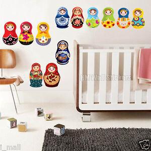 15 BEAUTIFUL BABUSHKA DOLL Kids Wall Sticker,colour up your baby/nursery room