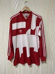 ADIDAS 90s FOOTBALL SHIRT SOCCER JERSEY LONG SLEEVE sz M RED