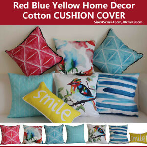 """Art Red Blue Yellow Home Decor Cotton CUSHION COVERS THROW PILLOW CASE 18"""""""