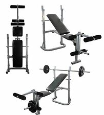 Weight Bench and Weights Adjustable & Folding Bench 6ft Bar & 30kg Plates