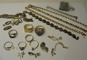 VINTAGE 10K,14K,18K GOLD JEWELRY LOT. WEAR OR SCRAP, RINGS.DIAMOND BRACELETS