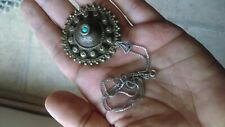 Victorian antique silver jewelry brass pendant , Turquoise, 925 silver chain