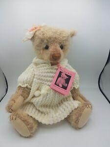 "OOAK Blue Jean Bears 18"" Blonde Bear ""lily"" By Sylvia Humphrey"