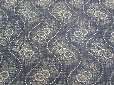 Ralph Lauren Curtain/Upholstery Fabric 'Etienne Floral Stripe' 1.8 METRES Indigo