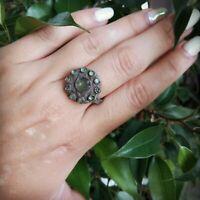 Ancient Viking slav Old copper  ring FABULOUS VERY RARE glass Stone