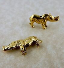 10 Antique gold plated pewter Rhinoceros, Rhino Beads