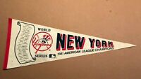 VINTAGE 1981 NEW YORK YANKEES PENNANT WORLD SERIES ROSTER MLB BASEBALL