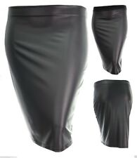 Size 14 - 24 Sexy New Black Pvc Wet Look Full Elastic Waist Stretch Pencil Skirt