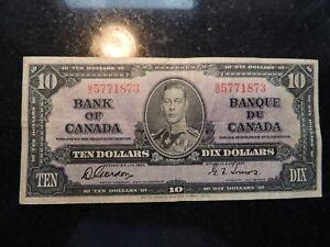 1937 BANK OF CANADA $ 10 TEN DOLLARS GORDON TOWERS B/D 5771873 BC-24b