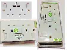 2 GANG DOUBLE SWITCHED WALL SOCKET WITH 2 USB MOBILE PHONE TABLET CHARGER PORTS