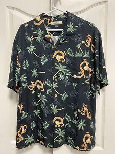 Tommy Bahama Dragon Print Black Silk Men's Shirt M