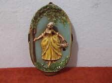 VINTAGE FIGURAL CERAMIC OVAL VICTORIAN LADY WALL PLAQUE