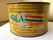 Large Aqua Brand Buffalo Ny Herring Fish Tin Advertising Coffee Oil Can Ad Sign