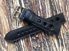 Cinturino Vintage Cuoio Forato 20mm Nero, Testa di moro watch band strap Rally