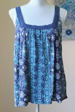 NWT LUCKY BRAND WMNS L CROCHET TANK TOP BLOUSE HALTER TEE CAMI NAVY TEAL