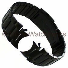 24mm deBeer Black PVD Oyster Link Stainless Button Clasp Curved Watch Band 294
