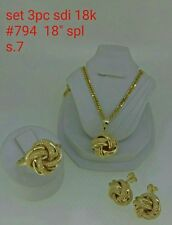 GoldNMore: 18K Jewelry Set Gold 18 inches Necklace Pendant Earrings Ring 7.94G