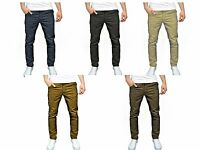 New Mens Designer Twisted Faith TF11-P Slim Fit Skinny Fashion Chinos Trousers