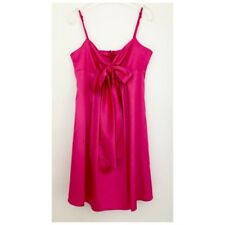 Review Pink Satin Dress Front Tie Bow - Size 10