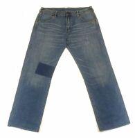 Vintage Evisu Jeans Lotus Flower Patches Blue Washed Size 38 x 32 Mens Pants