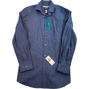 PERRY ELLIS Mens Top Shirt Small Blue Very Slim Long Sleeve Button-Up