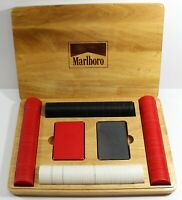Marlboro Poker Set 2 Marlboro packs of cards & Chips in Wooden Oak Box Vintage