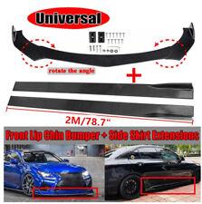 """Universal Car Front Bumper Lip Spoiler Chin Splitter +78.7"""" Side Skirt Extension"""