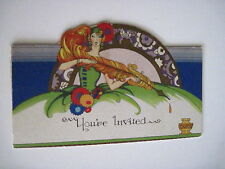 Charming 1927 Invitation Card w/ Woman in Art Deco Green Dress & Gold Feather *