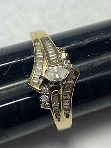 14K Yellow Gold Diamond Engagement Ring Wedding Band 4.3 Grams Size 9