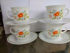 Vintage Corelle Corning  Wildflower Coffee Cups Mugs And Saucers Set of 4