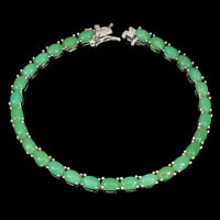 Unheated Oval Chrysoprase 6x4mm White Gold Plate 925 Sterling Silver Bracelet