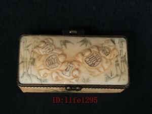 Collection Ornaments Asian China Old Hand Carved Vivid Turtle Jewelry Box Gift