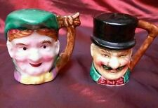 """Old Man with Mustache & Old Woman Salt and Pepper Shaker Set Japan 2 1/2"""" tall"""