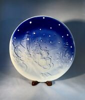 Italian Pottery-Blue White Christmas Collectible Plate-Church-Sleigh-Poinsettia