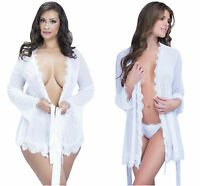 Ladies Sexy Sheer Lace Trim Robe White Thong Nightwear Regular Plus 8-12 14-16