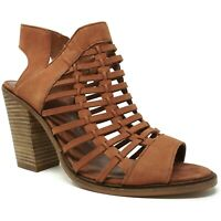 Vince Camuto Womens Kessey Woven Sandals Size 11M Brown Leather Block Heel