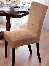 "BEIGE ""STRETCH"" DINING CHAIR COVER   ""ON SALE""   VELVET DAMASK AVAIL IN 4 COLORS"