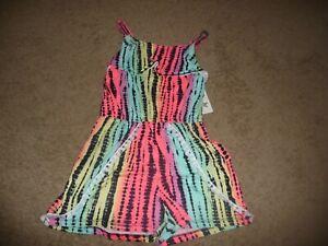NEW NWT Girls size 10/12 One Step Up Girls' Tie-Dye Stripe Romper soft rainbow